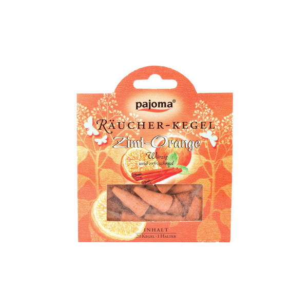 Pajoma Räucherkegel - Zimt-Orange, 20 Stk + Halter