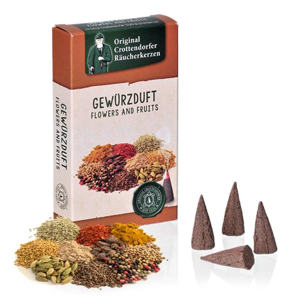 Gewürzduft - Flowers & Fruit, Original Crottendorfer Räucherkerzen