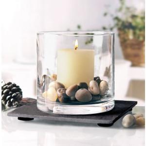Pajoma Windlicht Set, Glas/Schiefer/Stein, H 10 cm,...