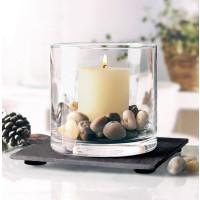 Pajoma Windlicht Set, Glas/Schiefer/Stein, H 10 cm, ø 10 cm, ohne Kerze
