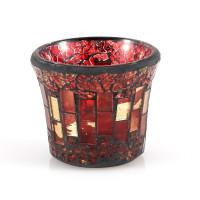 Teelichglas Mosaik, L 8 x B 8 x H 7 cm, in rot