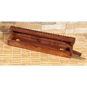 Holz Räucherstäbchenhalter mit Vorratsbox Buddha