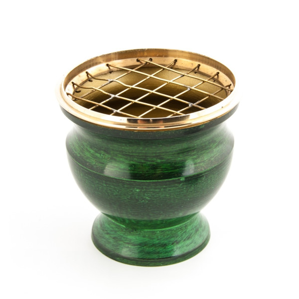 Räuchergefäß Emaille grün/Messing (Höhe 8.5 cm)