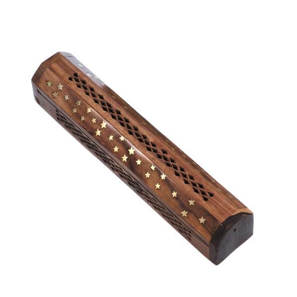 Holz Räucherstäbchen Vorratsbox Sternchen
