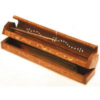 Reisekiste Holz Räucherstäbchenhalter mit Vorratsbox