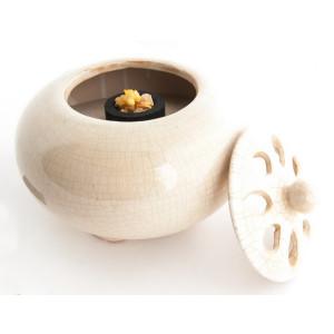 Räuchergefäß Ton, Mandira mit Weißcraquelee