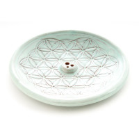 Blume des Lebens Türkis- Räucherstäbchenhalter aus Keramik ca. Ø 15 cm