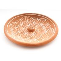 Blume des Lebens Natur- Räucherstäbchenhalter aus Keramik ca. Ø 15 cm