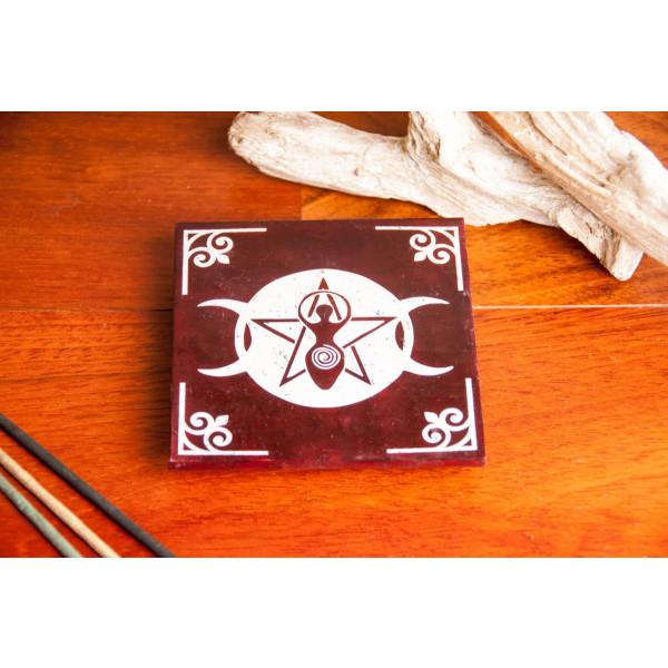 Speckstein Räucherstäbchenhalter Wicca Größe: ø 10 cm, Farbe Schwarz