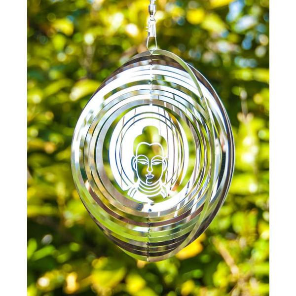 Buddha Mobile Windspiel aus Edelstahl 15,3 cm