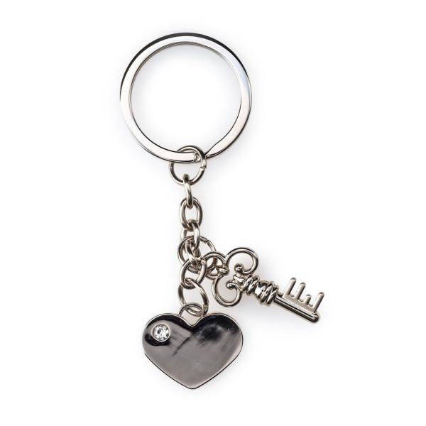 Pajoma Schlüsselanhänger Herz mit Schlüssel und Strass-Stein