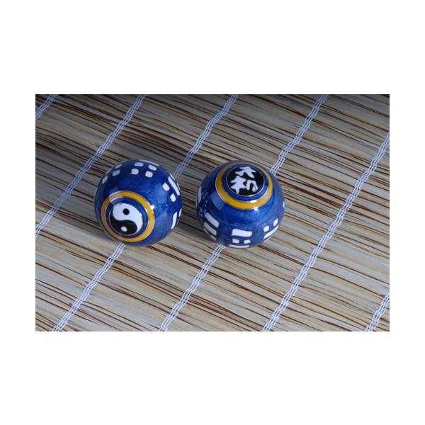 Qi Gong Kugel  Yin und Yang mit I Ging blau