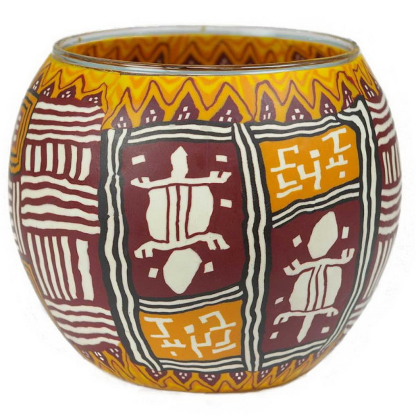 African Art Ethno - Windlicht Glas 11 x 11 x 9 cm
