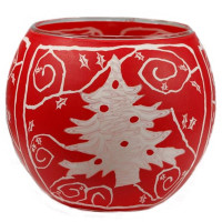 Red White Christmas Tree - Windlicht Glas 11 x 11 x 9 cm