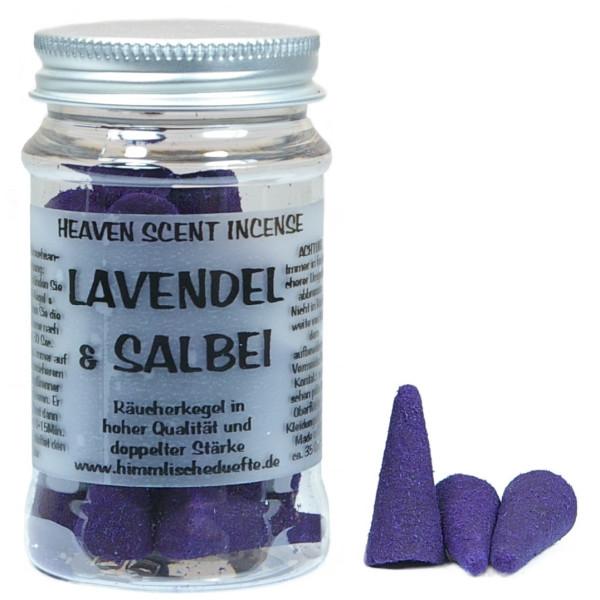 Lavendel Salbei - Heaven Scent Räucherkegel in Dose
