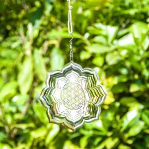 Blume des Lebens Lotus Mobile, Windspiel Ø 15 cm...