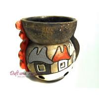 Aromalampe Haus Kugel rot Höhe 9 cm, Seyko-Keramik
