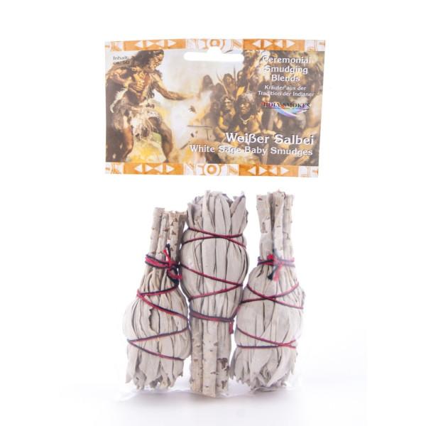 Weißer Salbei mini - Smudge Sticks (Kräuterbündel) 3er Pack