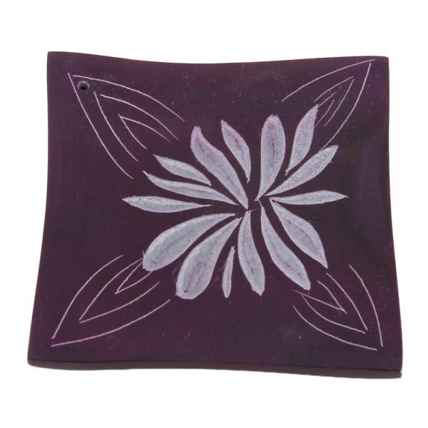 Softstone Räucherstäbchenhalter BLOSSOM lila, Speckstein - FAIR TRADE