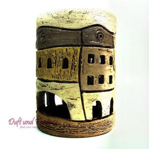 Aromalampe Altstadt Zylinder braun 13,0 cm, Seyko-Keramik