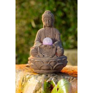 Zimmerbrunnen Buddha Lotus, Polyresin Höhe 30 cm