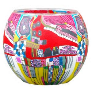 Moderne Kunst Rot - Windlicht Glas 11 x 11 x 9 cm