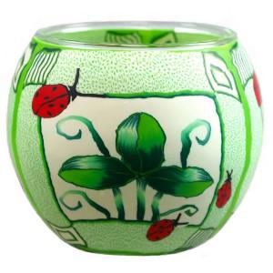 Green Leaves - Windlicht Glas 11 x 11 x 9 cm