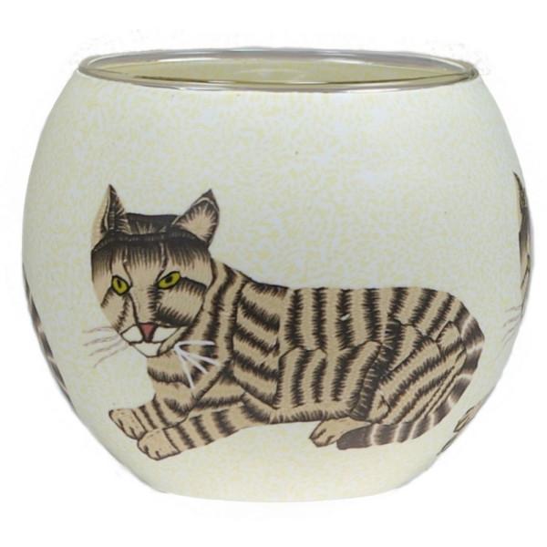 Katze - Windlicht Glas 11 x 11 x 9 cm