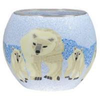 Eisbären - Windlicht Glas 11 x 11 x 9 cm