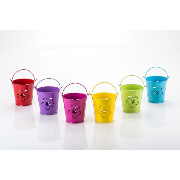 Teelichthalter, Eimer Dekoration, Metall, L 7 x B 7 x H 7,5 cm