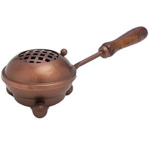 Räucherpfanne aus Kupfer mit Holzgriff D 8 cm
