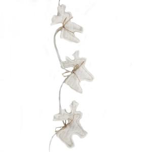 Rentier Girlande Baumwolle mit weißen LEDs