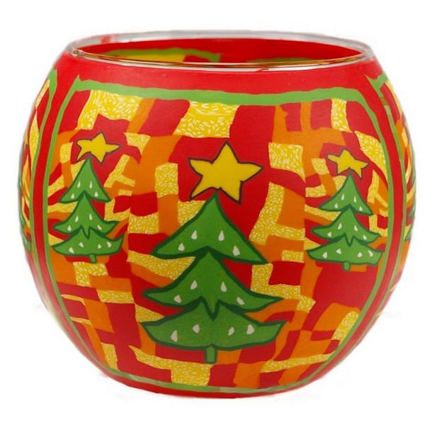 Green Christmas Tree - Windlicht Glas 11 x 11 x 9 cm