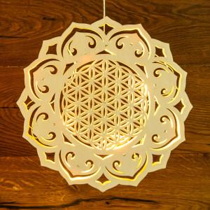 Lichtobjekt Blume des Lebens aus Holz mit LED Ø 30 cm