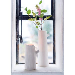 Porzellan Vase Baumstamm Weiß (M)
