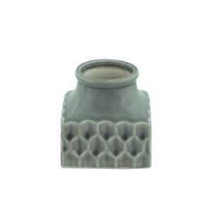 Keramik Vase Quadrat Grün