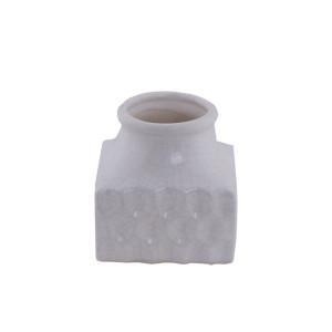Keramik Vase Quadrat Weiß