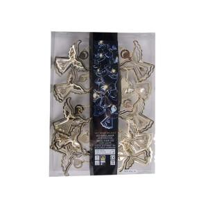 Metall Girlande Engel mit LED, Goldfaben