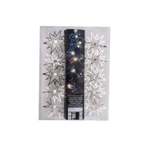 Metall Girlande Stern mit LED, Silberfarben