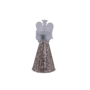 Glasengel Teelichthalter mit Glitter, Größe S