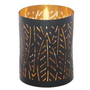 Windlicht NALA gold/schwarz, H: 10 cm, Ø 8 cm