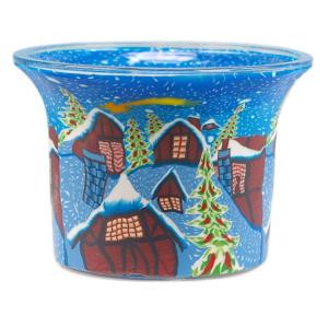 Snowtown - Teelichtglas klein 6,5 x 6,5 x 7 cm