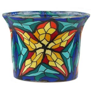 Stained Glas - Teelichtglas klein 6,5 x 6,5 x 7 cm