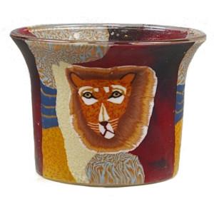 Löwe - Teelichtglas klein 6,5 x 6,5 x 7 cm
