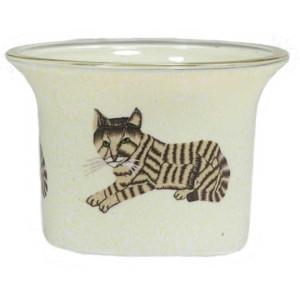 Katze - Teelichtglas klein 6,5 x 6,5 x 7 cm