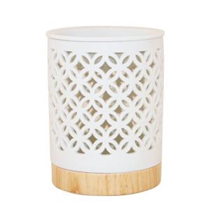 Duftlampe MANIKA weiß Keramik/ holzoptik