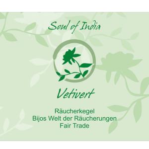 Vetivert - Soul of India - FAIR TRADE Räucherkegel