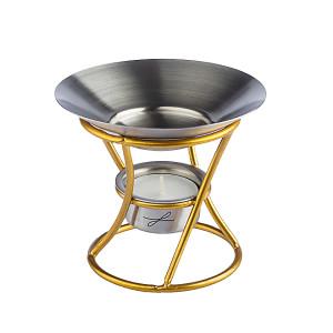 Duftlampe aus Metall, goldfarben lackiert, Schale aus...