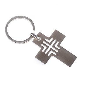Schlüsselanhänger Kreuz aus Edelstahl, 3 x 3,8 cm