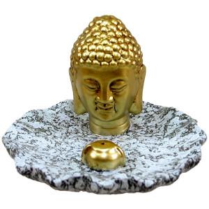 Goldener Buddhakopf auf Schale...